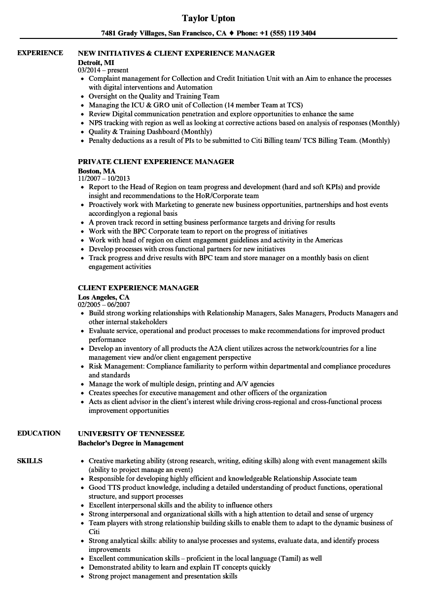 client experience manager resume samples
