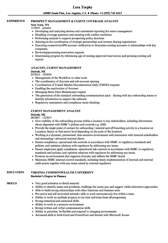 Client Management Analyst Resume Samples | Velvet Jobs