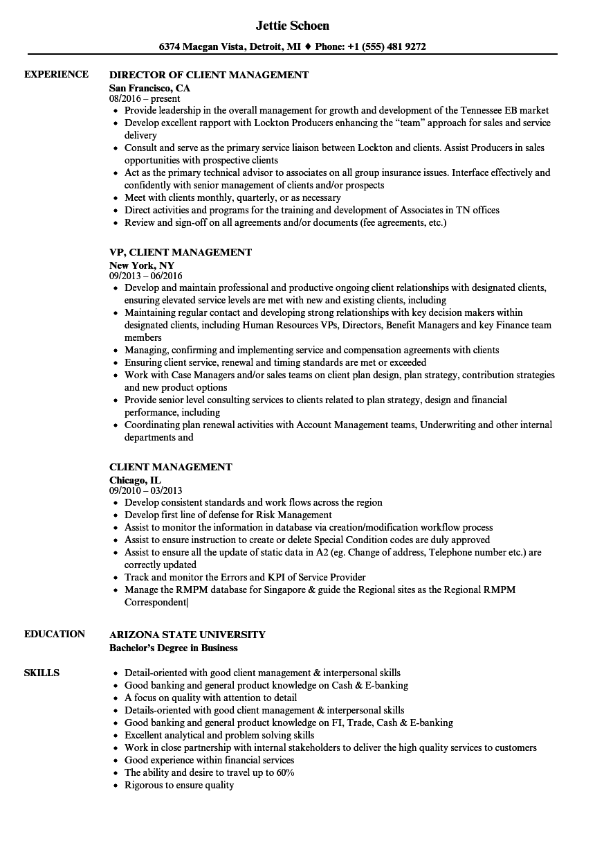 Download Client Management Resume Sample as Image file