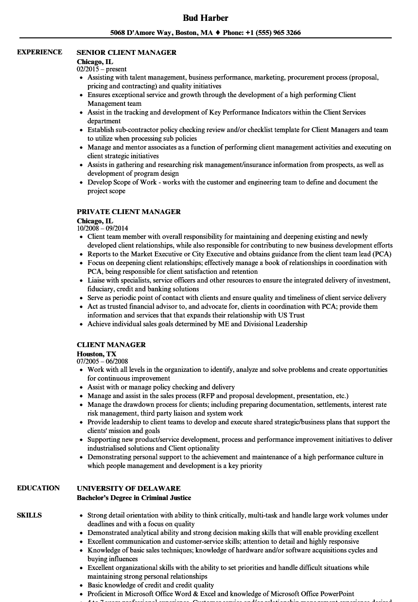 Client Manager Resume Samples | Velvet Jobs
