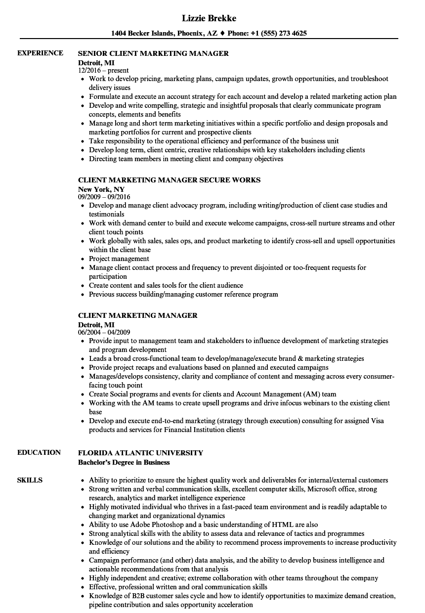 Client Marketing Manager Resume Samples | Velvet Jobs