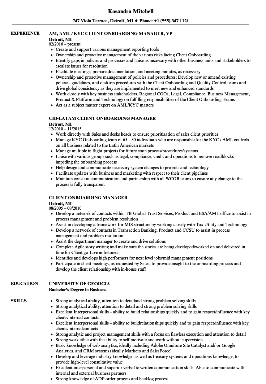 Client Onboarding Manager Resume Samples | Velvet Jobs