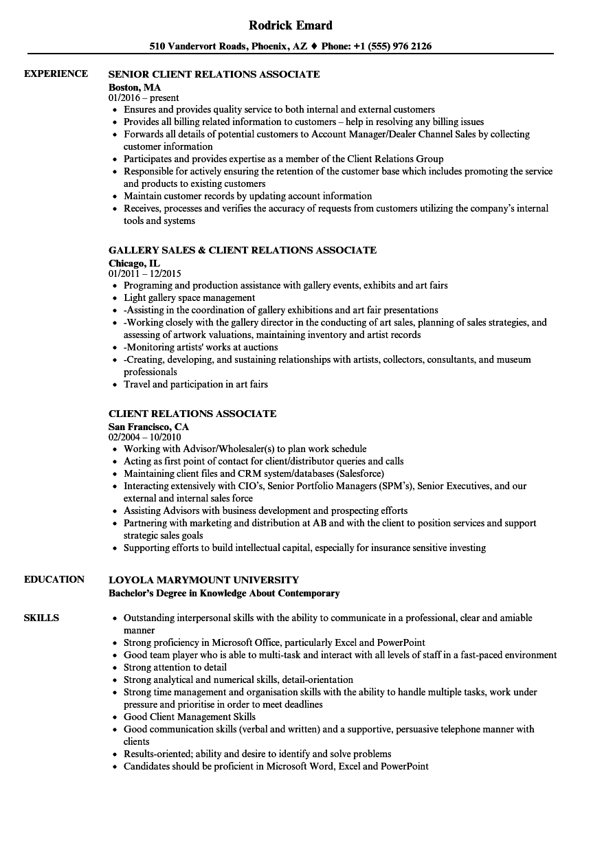 client relations associate resume samples