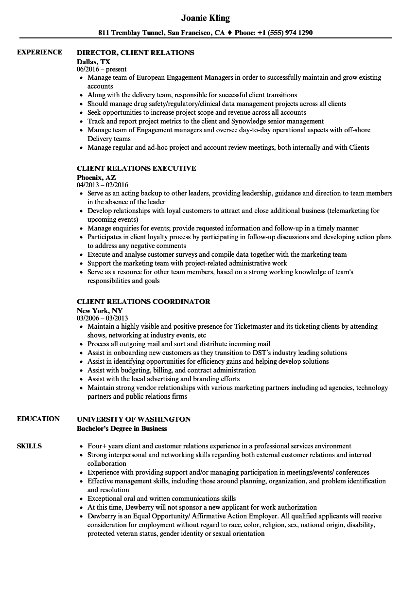 client relations resume samples
