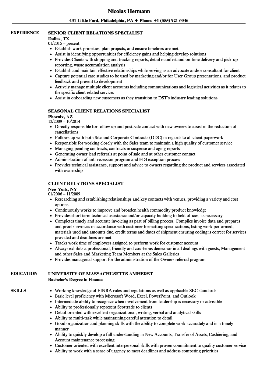 client relations specialist resume samples