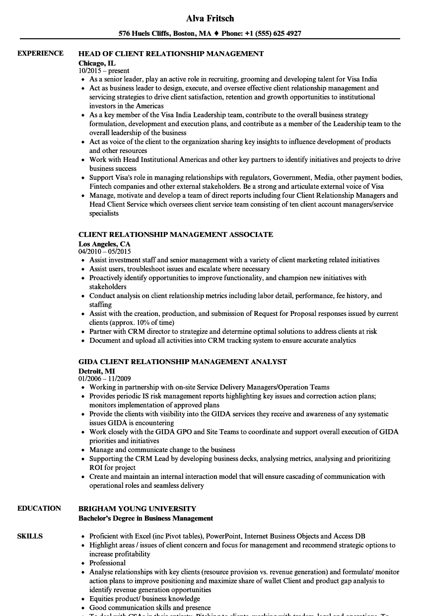 Client Relationship Management Resume Samples Velvet Jobs