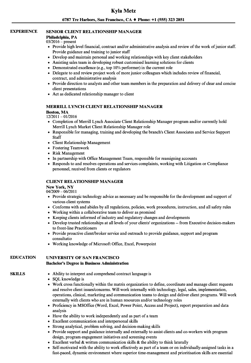 client relationship manager resume samples