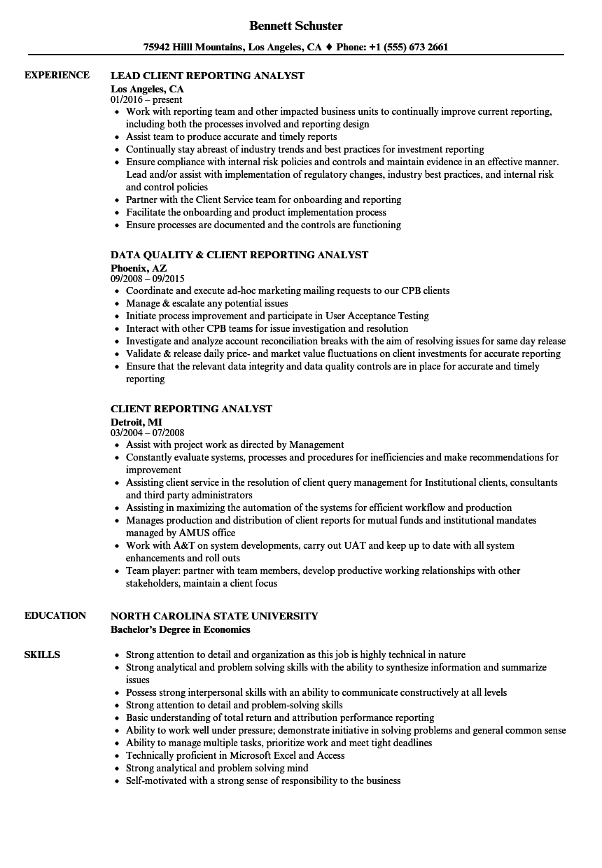 Client Reporting Analyst Resume Samples Velvet Jobs