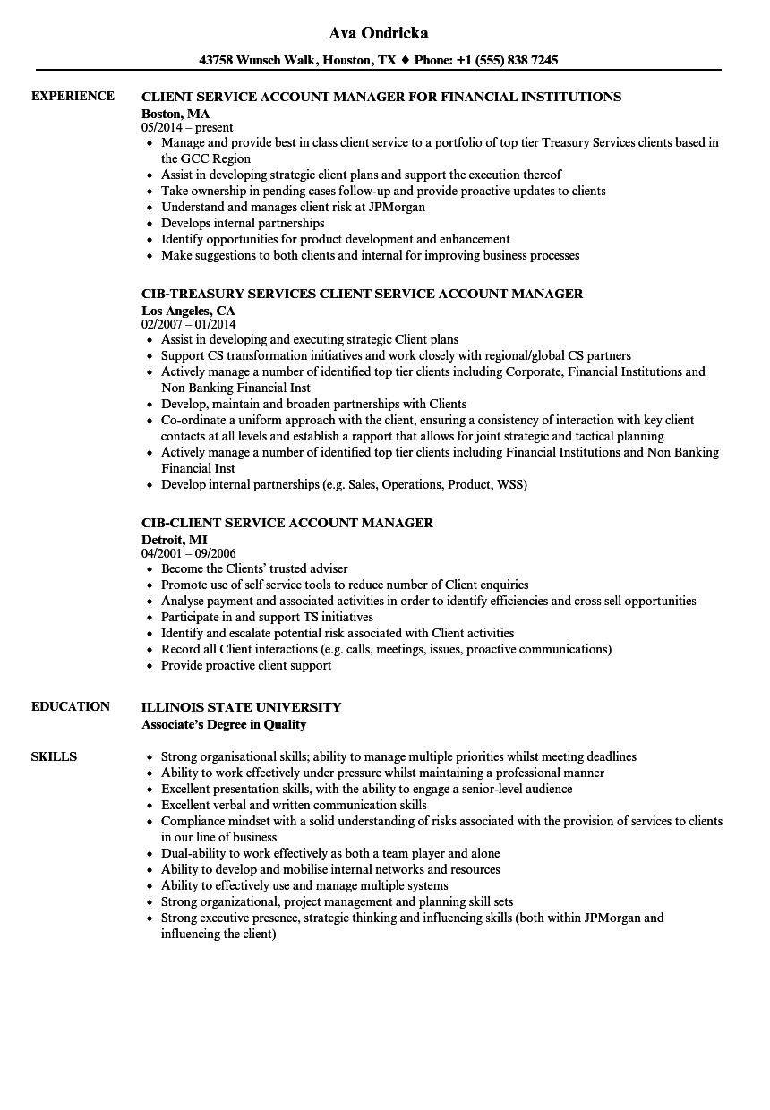 Client Service Account Manager Resume Samples Velvet Jobs