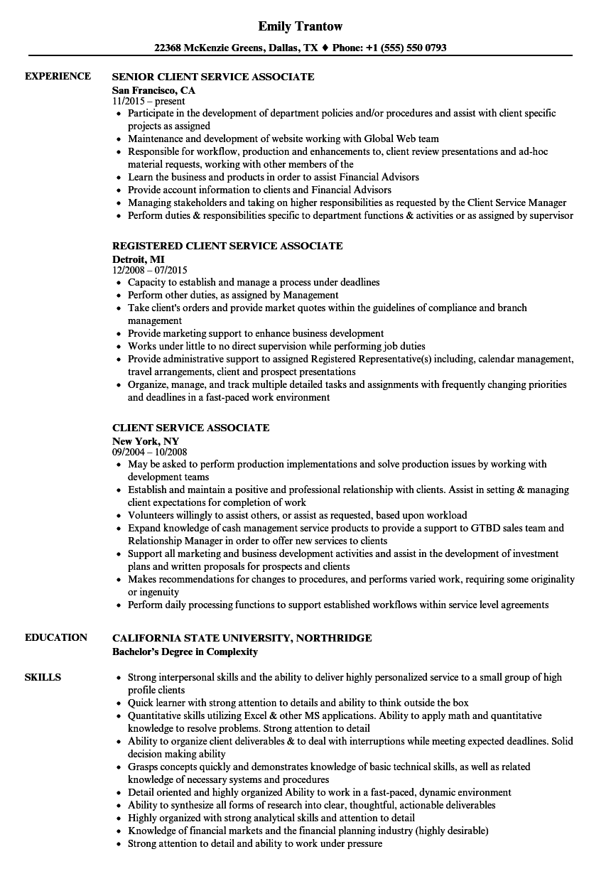 Client Service Associate Resume Samples | Velvet Jobs