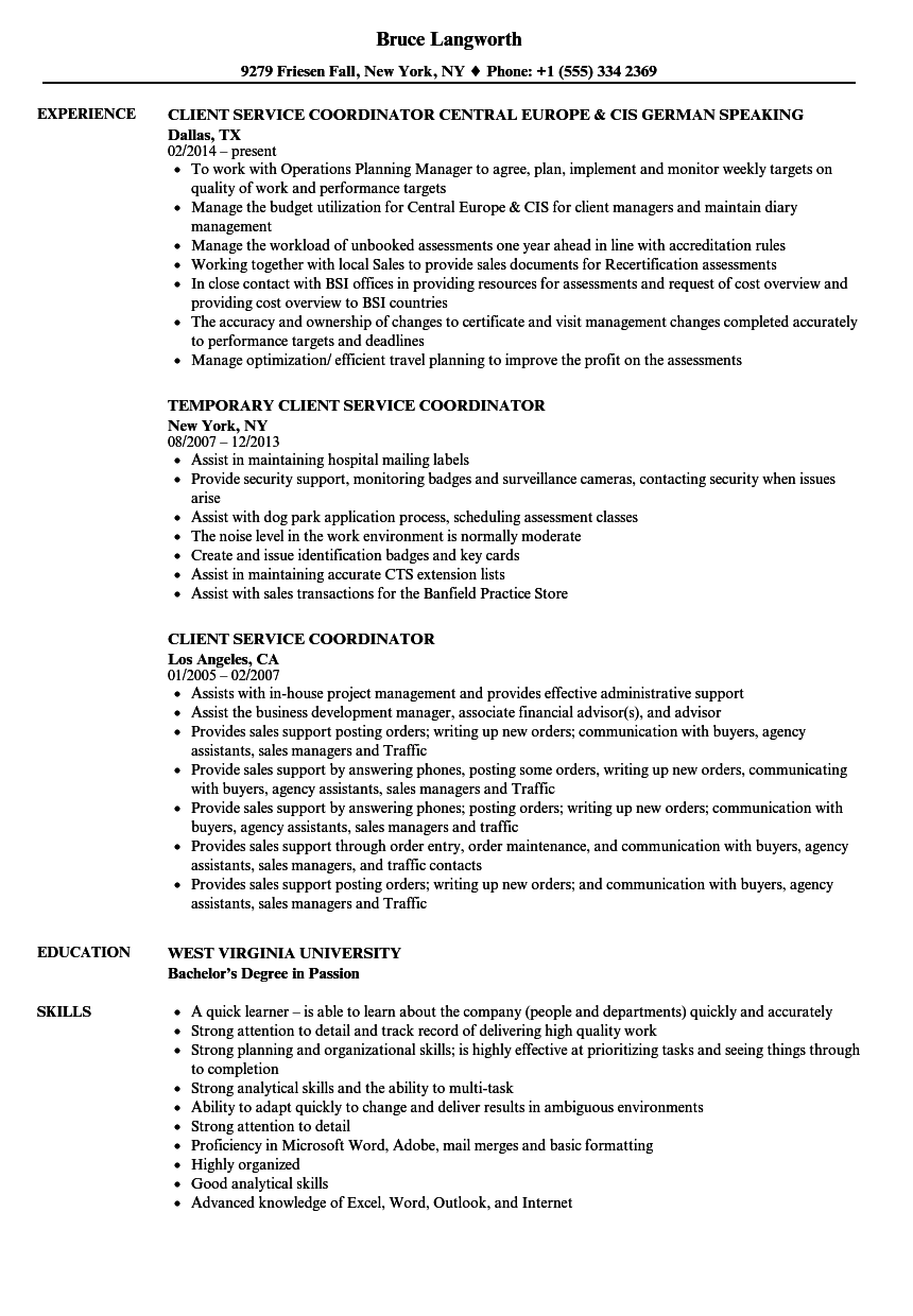 client service coordinator resume samples