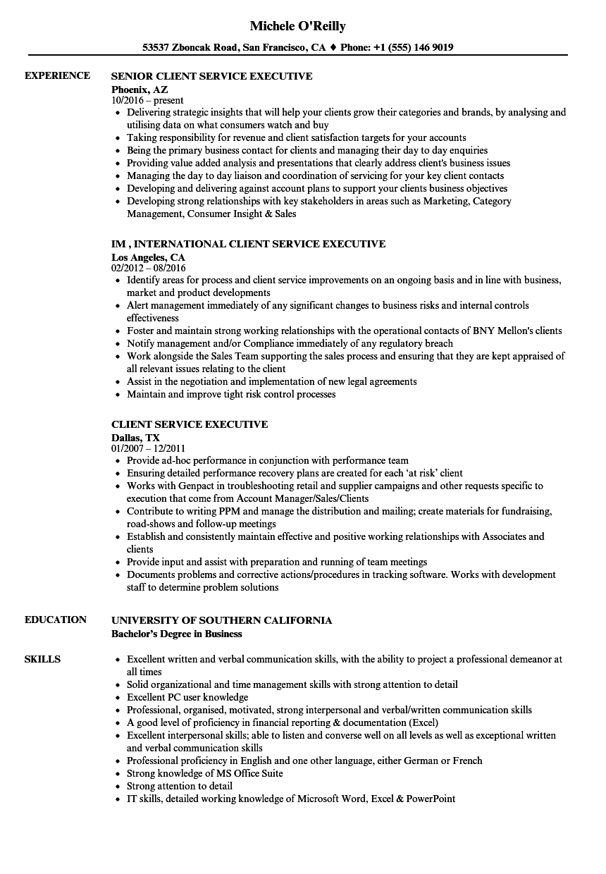 client service executive resume samples velvet jobs