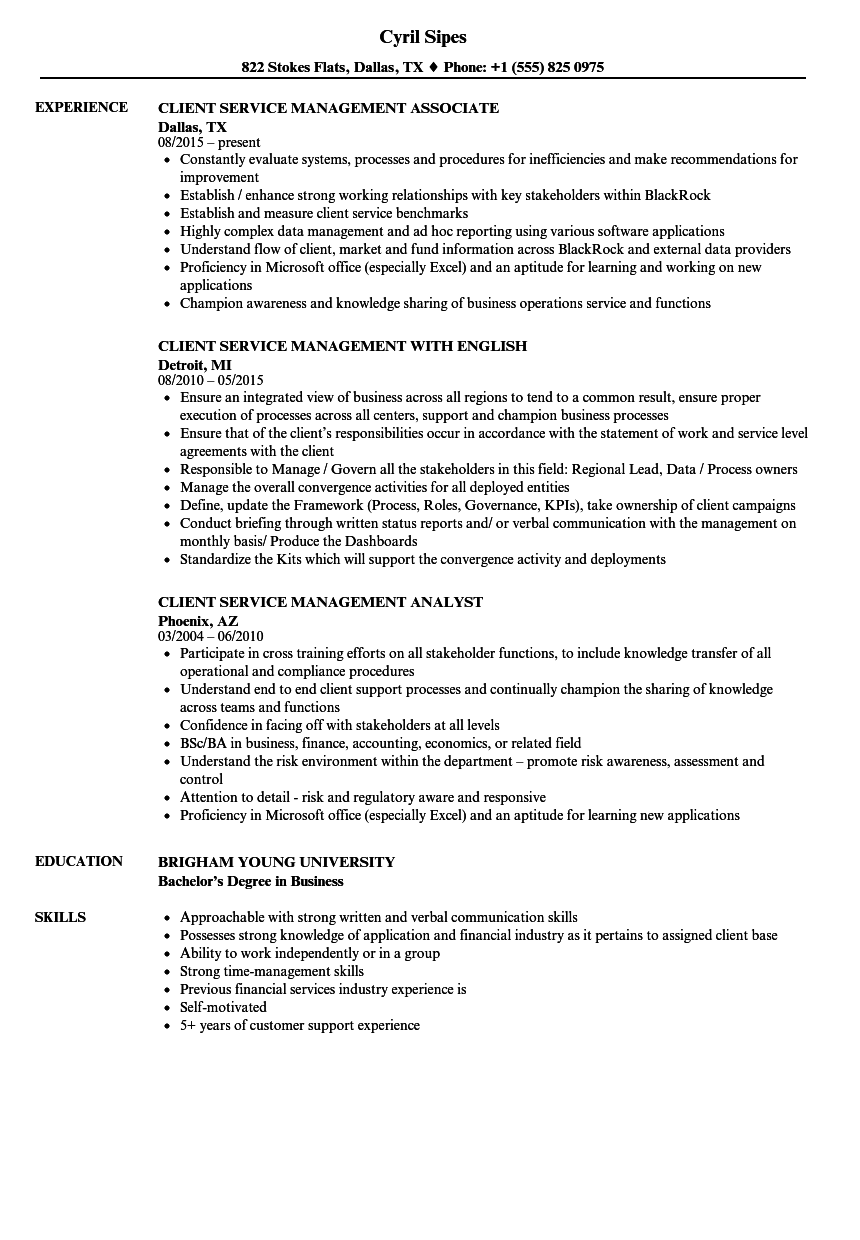 client service management resume samples