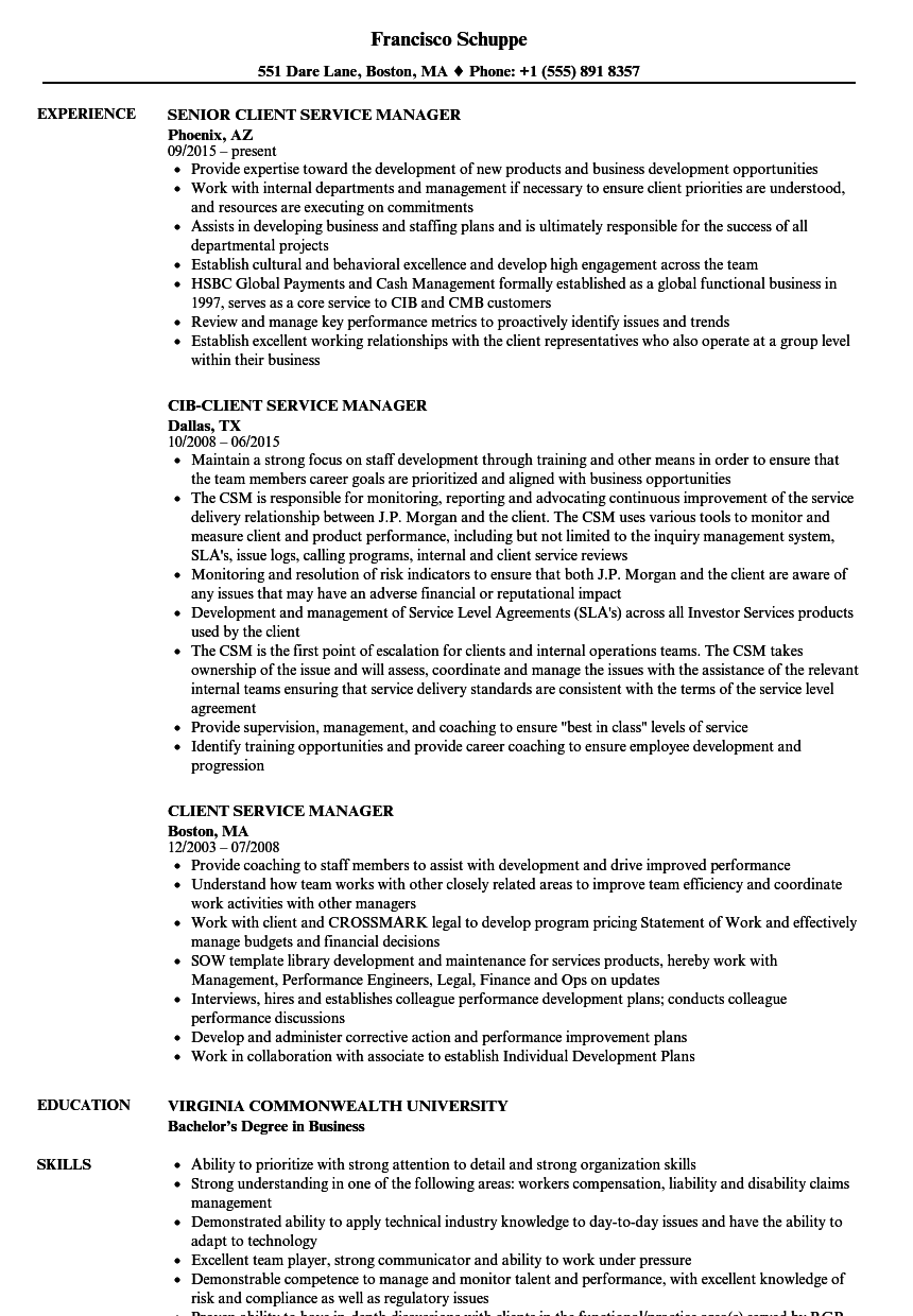 Client Service Manager Resume Samples | Velvet Jobs