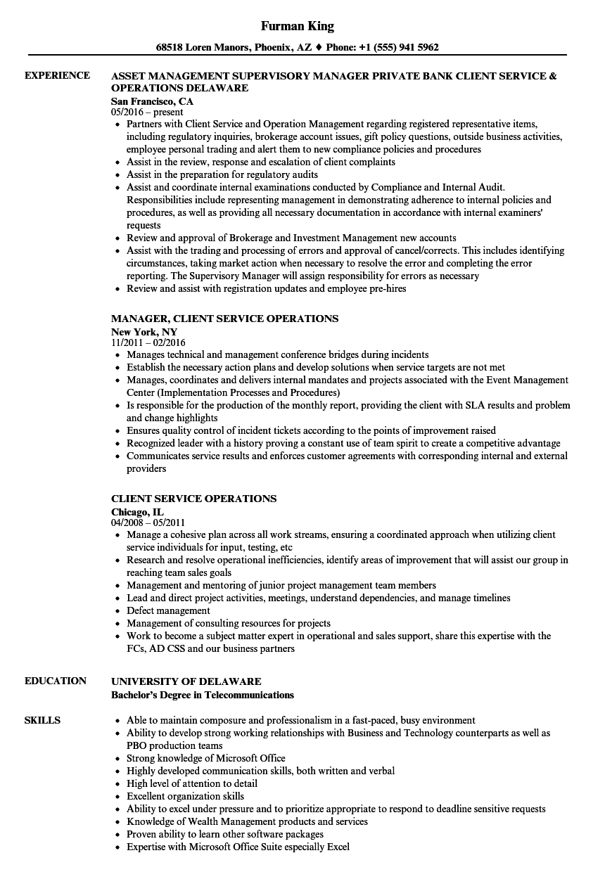 Client Service Operations Resume Samples | Velvet Jobs