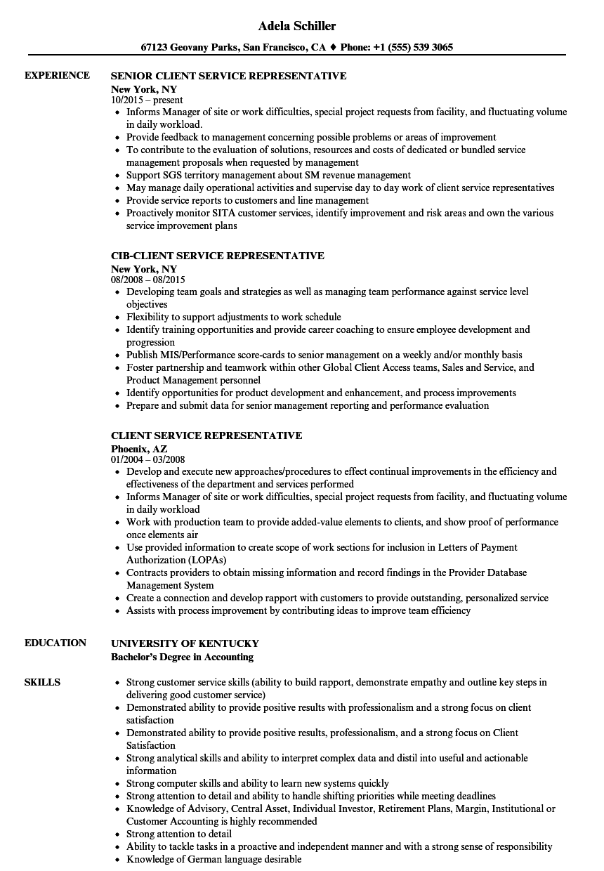 Client Service Representative Resume Samples | Velvet Jobs