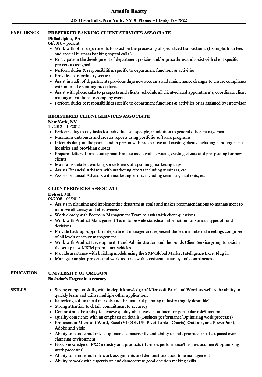 client services associate resume samples