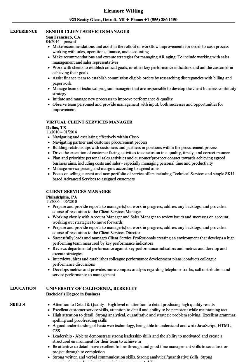 Client Services Manager Resume Samples | Velvet Jobs