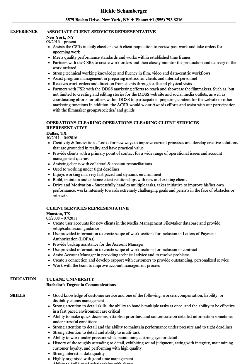 client services representative resume samples