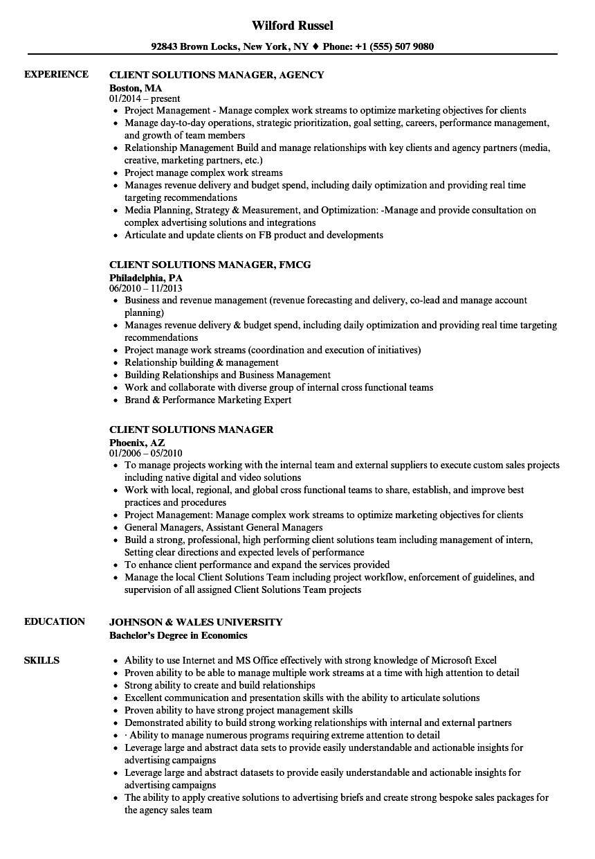 Client Solutions Manager Resume Samples Velvet Jobs