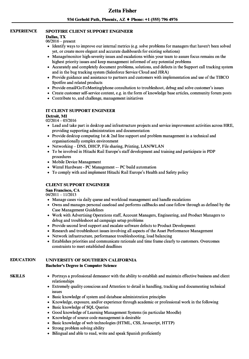 Download Client Support Engineer Resume Sample As Image File