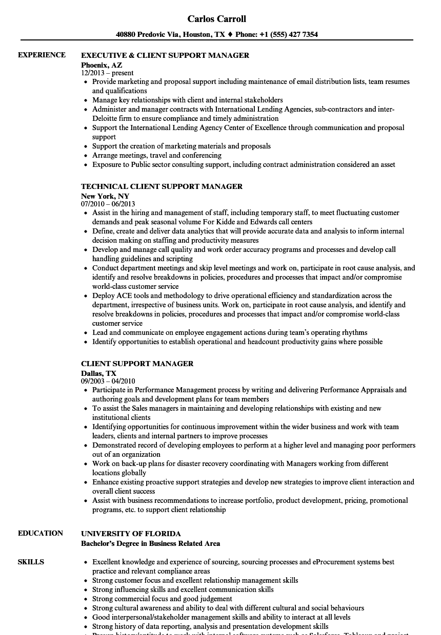 Download Client Support Manager Resume Sample As Image File  Technical Manager Resume