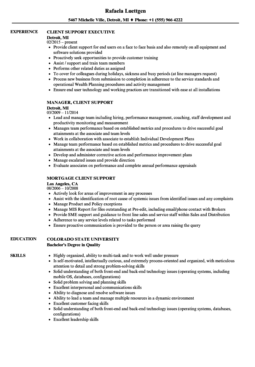 Download Client Support Resume Sample As Image File