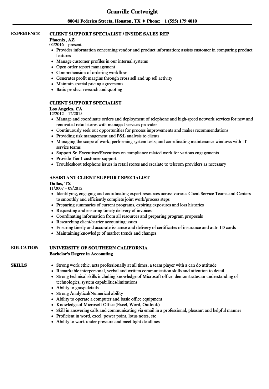 Client Support Specialist Resume Samples Velvet Jobs