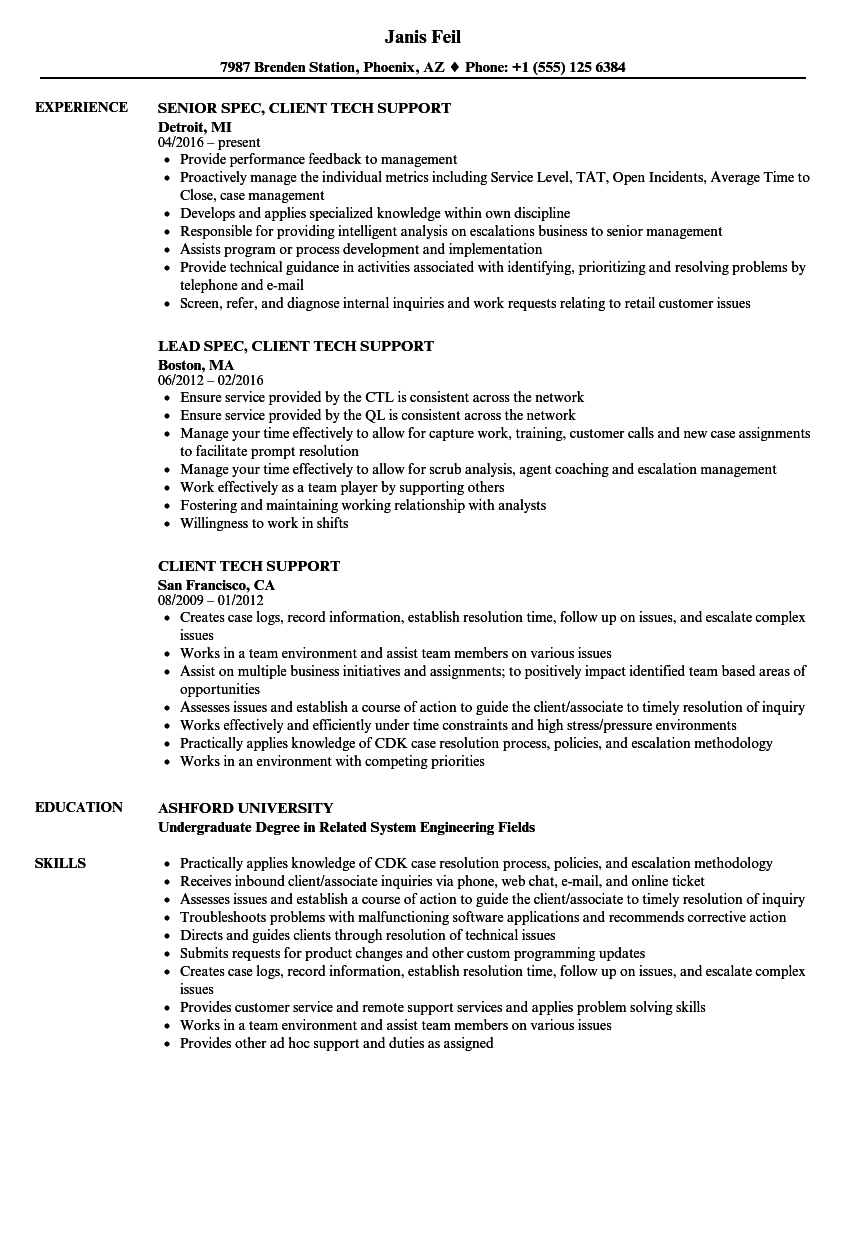 Remote Support Engineer Sample Resume download memo template ...