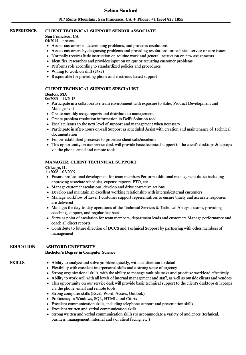 how to write a resume for technical support job