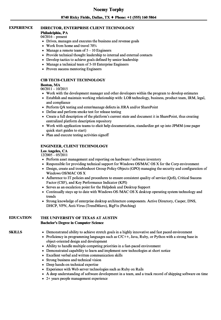 client technology resume samples
