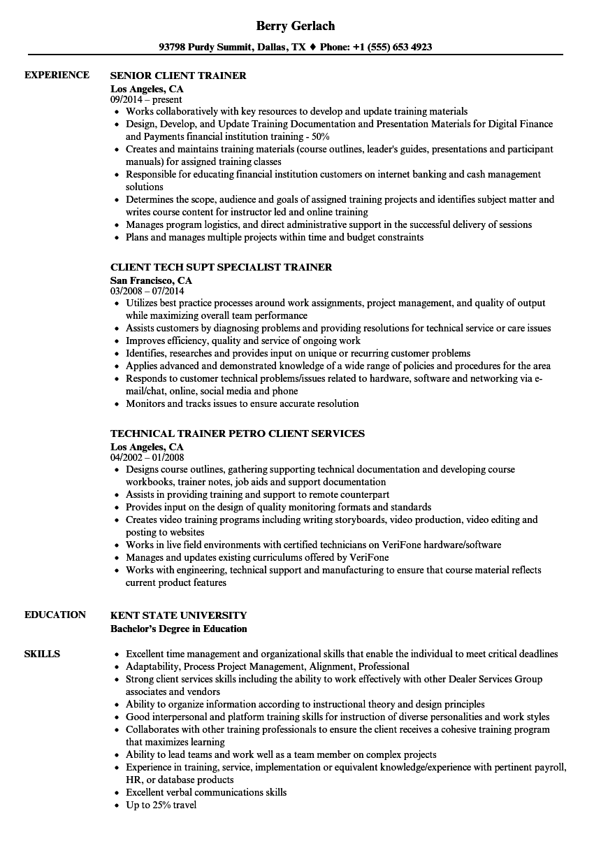 Download Client Trainer Resume Sample As Image File  Trainer Resume