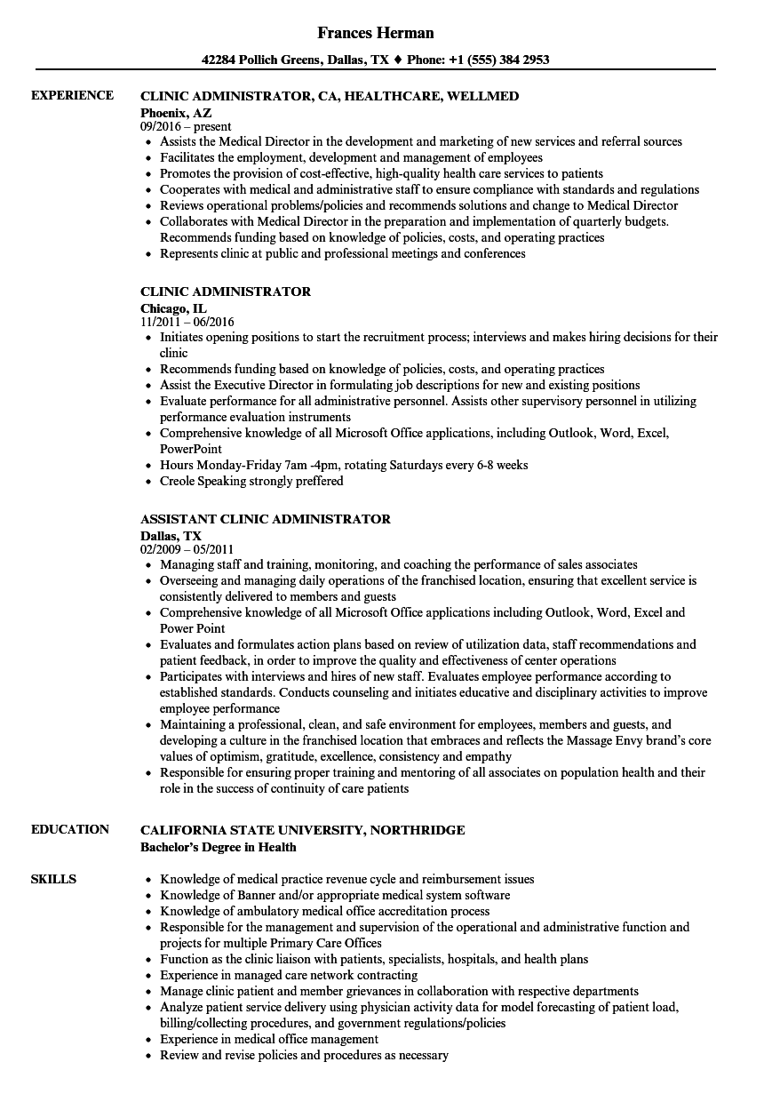 Clinic Administrator Resume Samples Velvet Jobs
