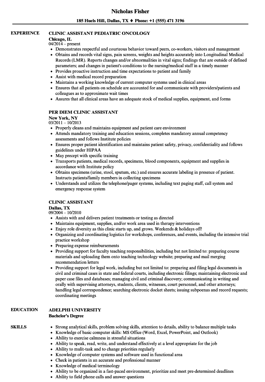 Download Clinic Assistant Resume Sample As Image File