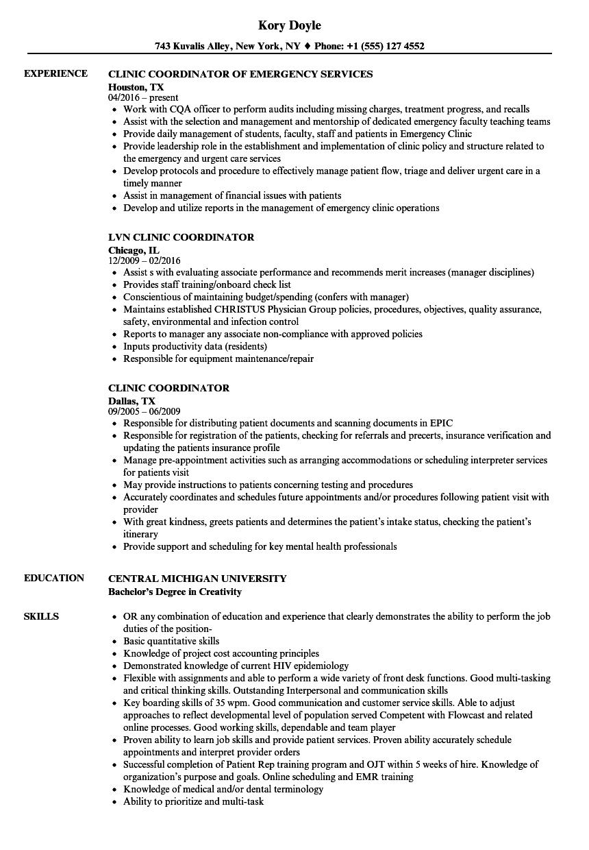 clinic coordinator resume samples  velvet jobs