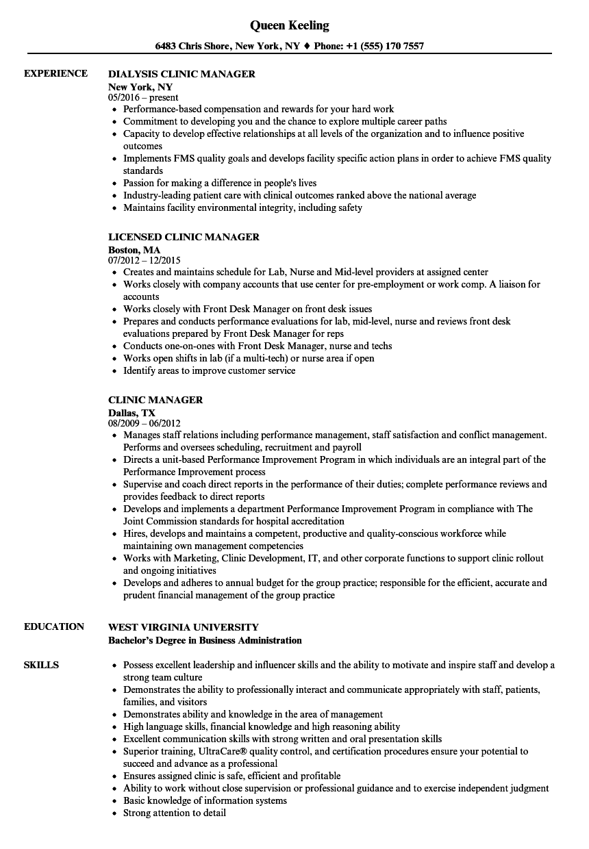 clinic manager resume samples
