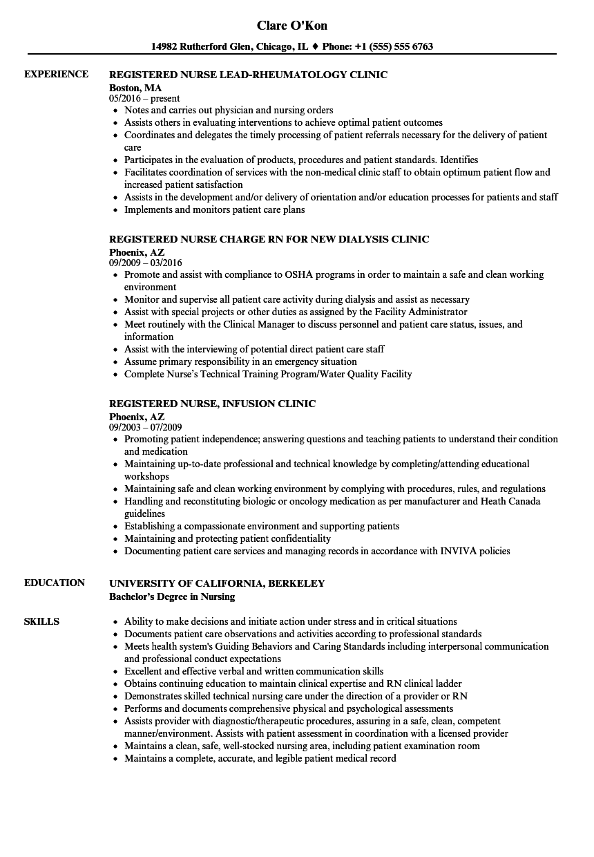 Download Clinic Nurse / Registered Nurse Resume Sample As Image File  Registered Nurse Resume Sample