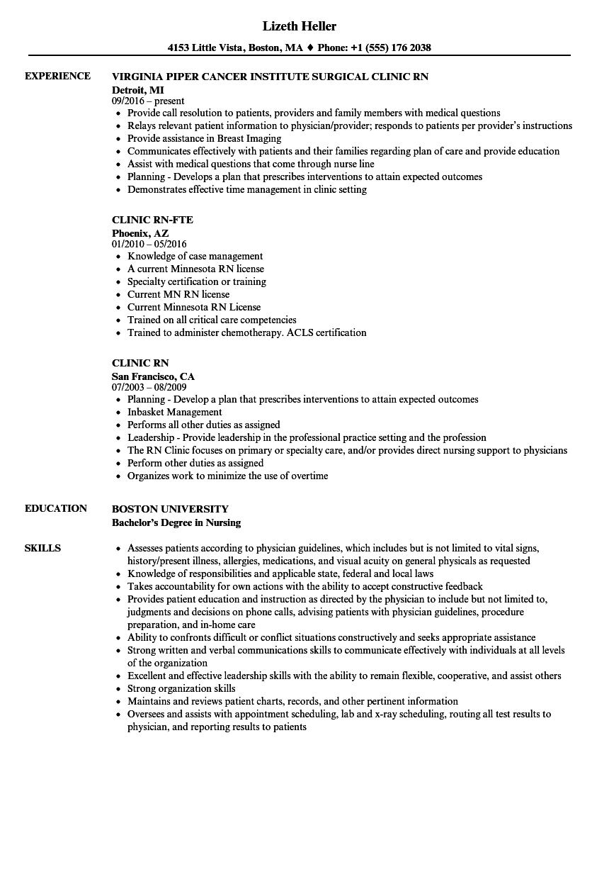 clinic rn resume samples