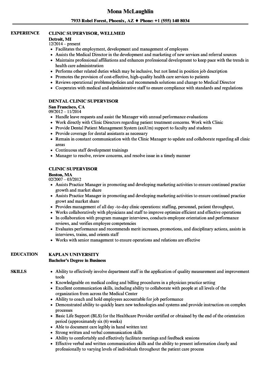 clinic supervisor resume samples