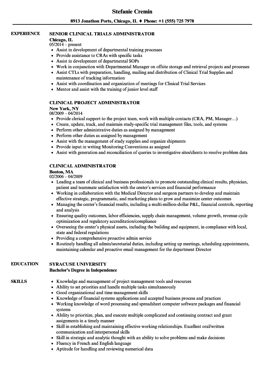 clinical administrator resume samples