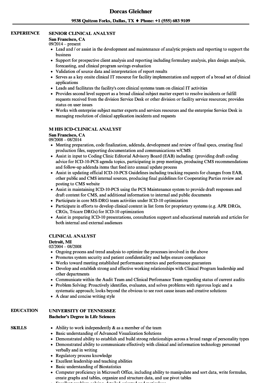 Clinical Analyst Resume Samples | Velvet Jobs