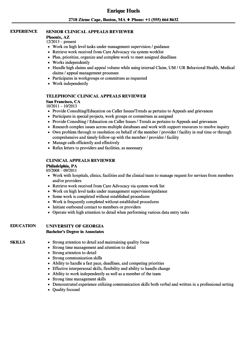 clinical appeals reviewer resume samples