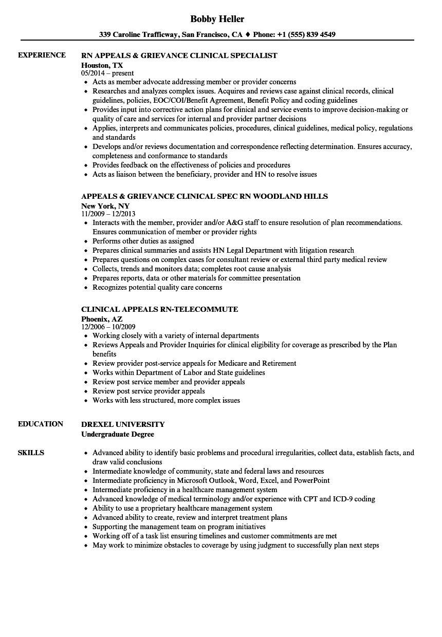 download clinical appeals rn resume sample as image file