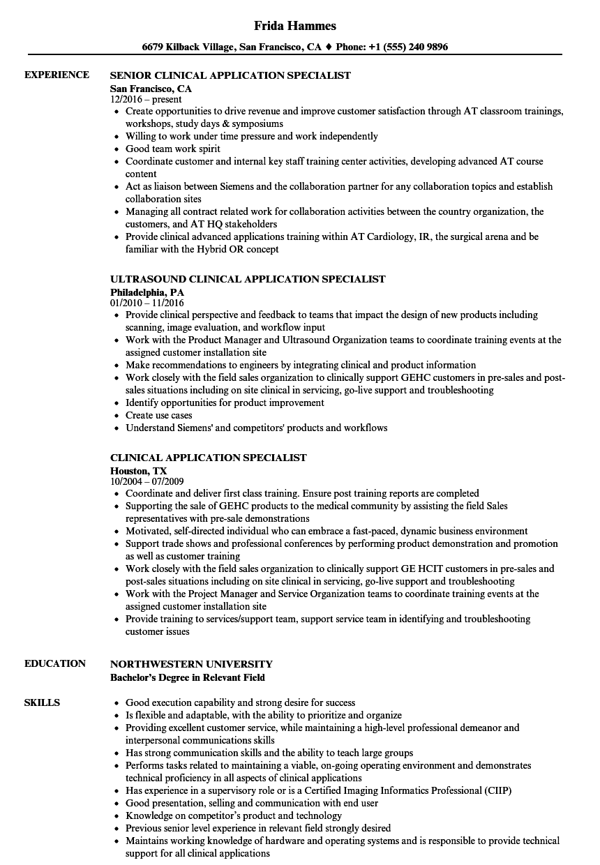 Clinical Application Specialist Resume Samples | Velvet Jobs