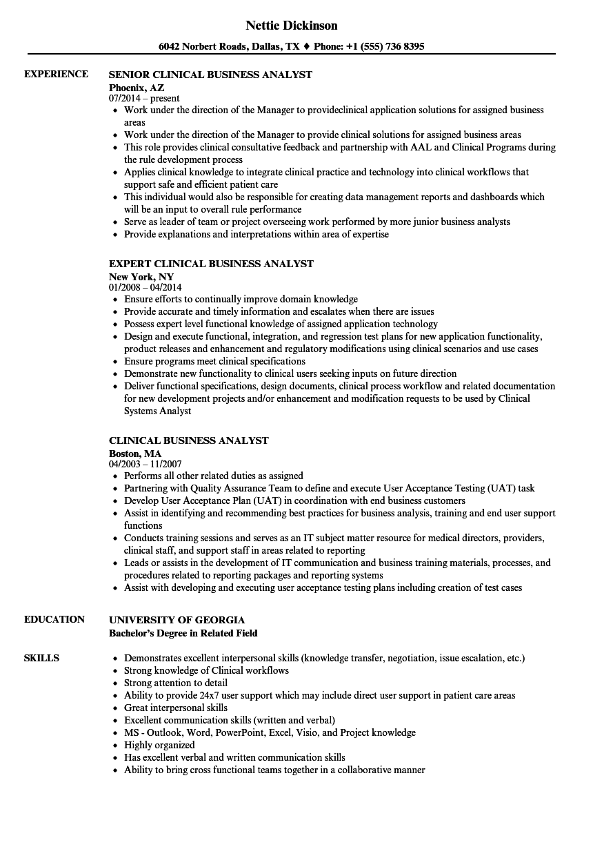 clinical business analyst resume samples