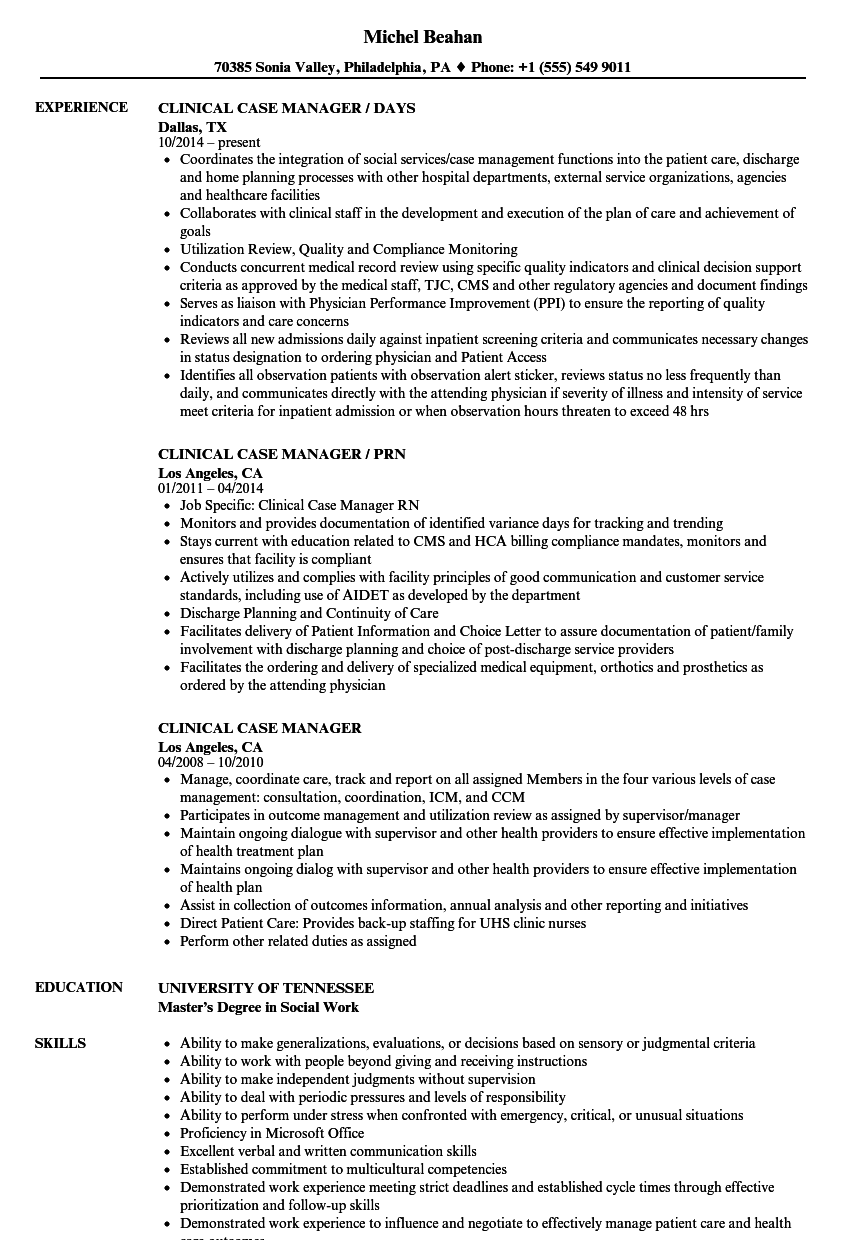 clinical case manager resume samples velvet jobs