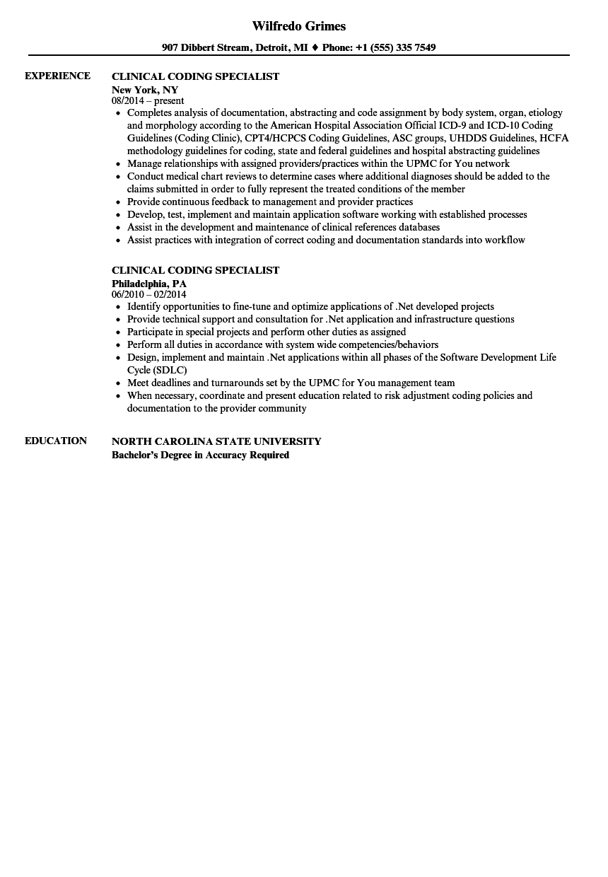 download clinical coding specialist resume sample as image file - Clinical Documentation Specialist Sample Resume