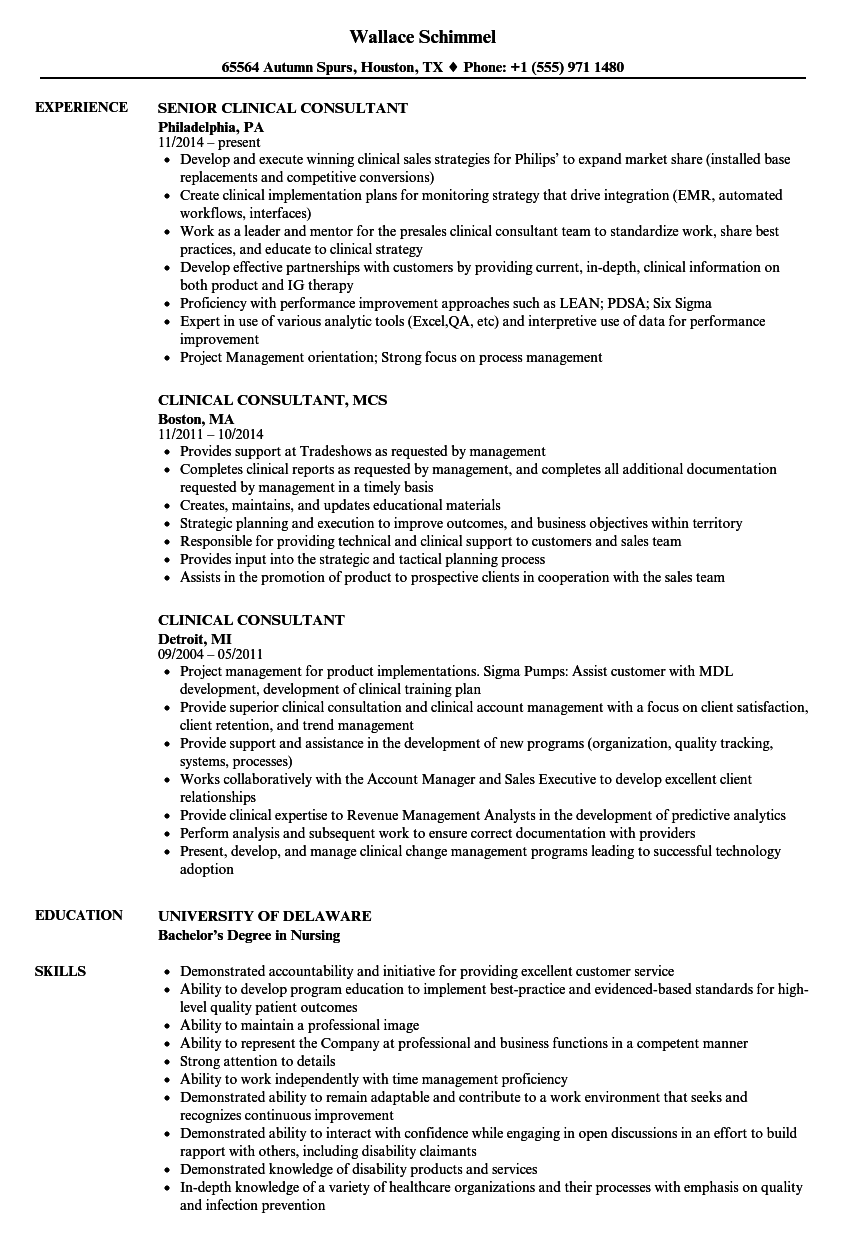 Download Clinical Consultant Resume Sample As Image File
