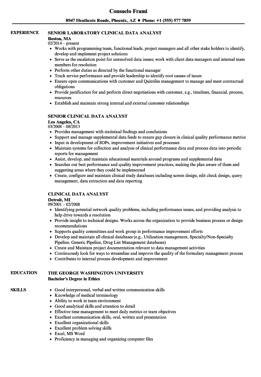 Download Clinical Data Analyst Resume Sample As Image File