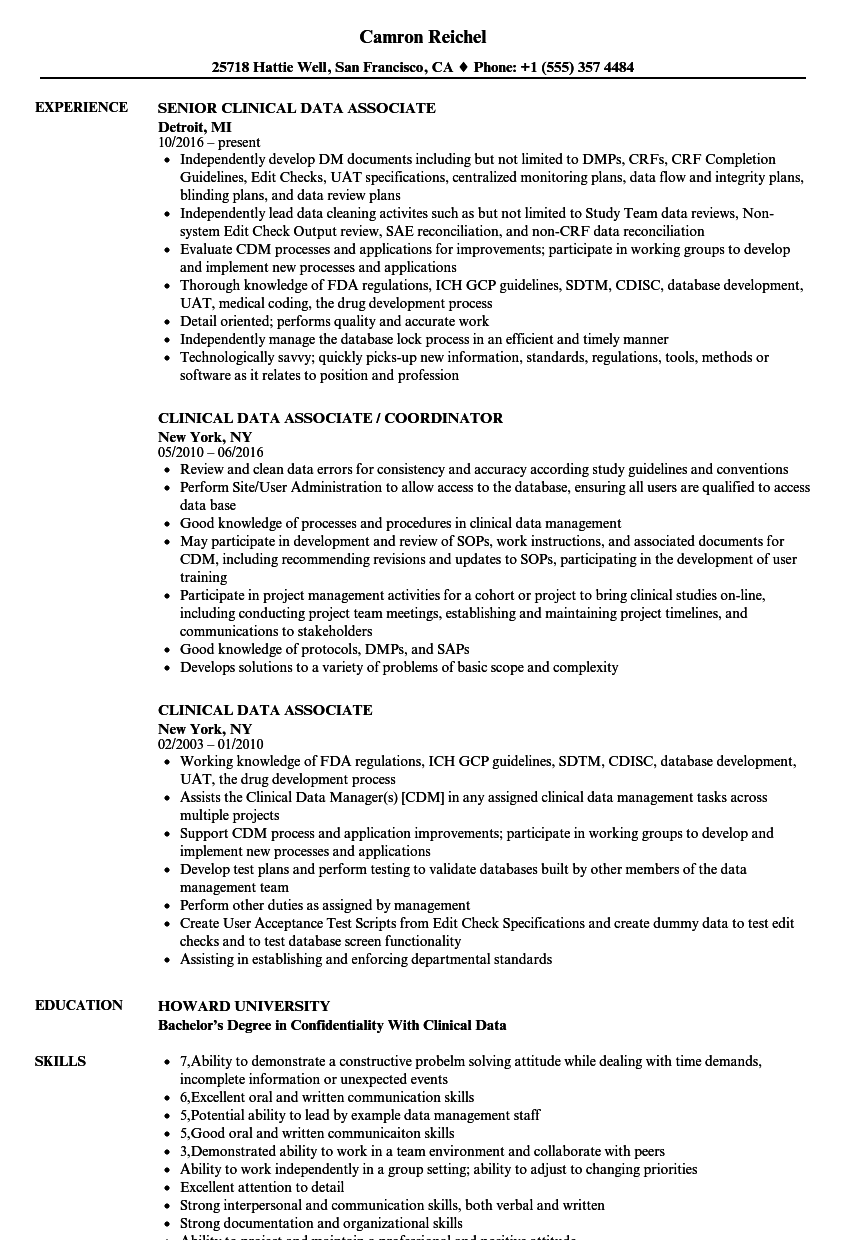 clinical data associate resume samples